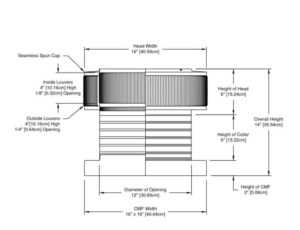 Attic Fan - Aura Fan - with Curb Mount Flange AF-12-C06-CMF-cut-away-and-measurements-cropped