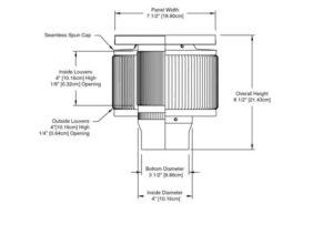Aura Solar Fan PVC Cap ASF-03-PVC-cut-away-and-measurements-cropped
