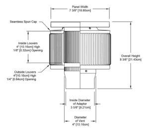 Aura Solar Fan PVC Cap ASF-03-PVC-cutaway-and-measurements