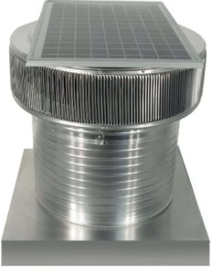 Solar Attic Fan - Aura Solar Fan with Curb Mount Flange ASF-18-C12-CMF-specs