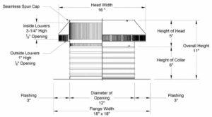 Roof Louver PVC Pipe Cap PV-12-C6-cutaway-and-measurements