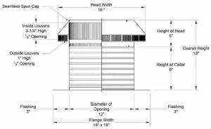 Roof Louver PVC Pipe Cap PV-12-C8-cutaway-and-measurements
