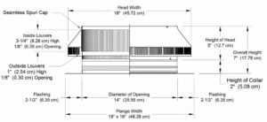 Roof Louver - Pop Vent for Exhaust PV-14-C02-cutaway-and-measurements