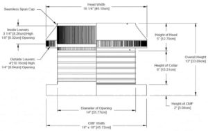 Roof Louver for Air Intake - Pop Vent with Curb Mount Flange PV-14-C06-CMF-cut-away-and-measurements