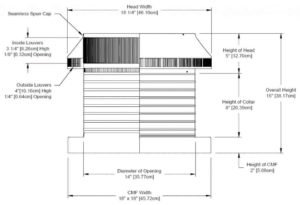 Roof Louver for Air Intake - Pop Vent with Curb Mount Flange PV-14-C08-CMF-cut-away-and-measurements