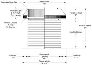 Roof Louver PVC Pipe Cap PV-14-C12-cutaway-and-measurements