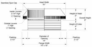 Roof Louver PVC Pipe Cap PV-14-C4-cutaway-and-measurements