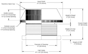 Roof Louver for Air Intake - Pop Vent with Curb Mount Flange PV-16-C06-CMF-cut-away-and-measurements