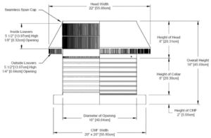 Roof Louver for Air Intake - Pop Vent with Curb Mount Flange PV-16-C08-CMF-cut-away-and-measurements
