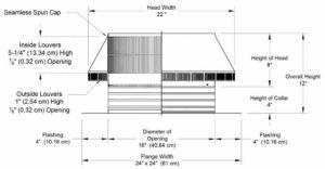 Roof Louver PVC Pipe Cap PV-16-C4-cutaway-and-measurements