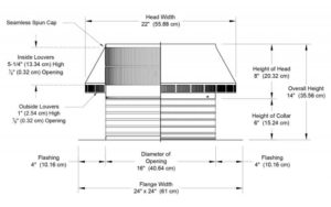 Roof Louver PVC Pipe Cap PV-16-C6-cutaway-and-measurements-800x500