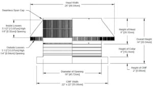 Roof Louver for Air Intake - Pop Vent with Curb Mount Flange PV-18-C04-CMF-cut-away-and-measurements