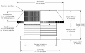 Roof Louver for Air Intake - Pop Vent with Curb Mount Flange PV-18-C06-CMF-cut-away-and-measurements