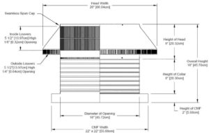 Roof Louver for Air Intake - Pop Vent with Curb Mount Flange PV-18-C08-CMF-cut-away-and-measurements