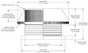 Roof Louver for Air Intake - Pop Vent with Curb Mount Flange PV-20-C06-CMF-cut-away-and-measurements