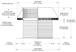 Roof Louver PVC Pipe Cap PV-20-C12-cutaway-and-measurements