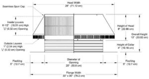 Roof Louver PVC Pipe Cap PV-20-C4-cutaway-and-measurements