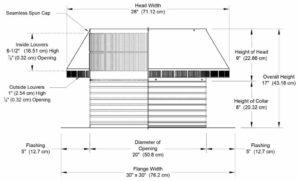 Roof Louver PVC Pipe Cap PV-20-C8-cutaway-and-measurements