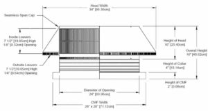 Roof Louver for Air Intake - Pop Vent with Curb Mount Flange PV-24-C04-CMF-cut-away-and-measurements