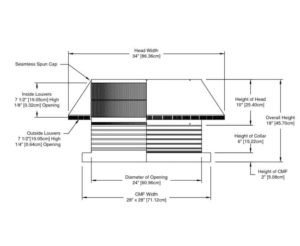 Roof Louver for Air Intake - Pop Vent with Curb Mount Flange PV-24-C06-CMF-cut-away-and-measurements-cropped