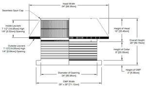 Roof Louver for Air Intake - Pop Vent with Curb Mount Flange PV-24-C08-CMF-cut-away-and-measurements