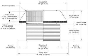 Roof Louver PVC Pipe Cap PV-24-C12-cutaway-and-measurements
