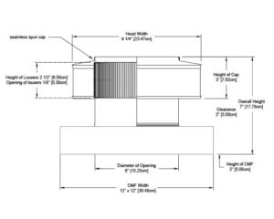 Static Vent Round Back with Curb Mount Flange RBV-06-C2-CMF-cutaway-and-measurements-cropped