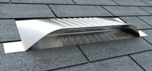 Static Off Ridge Roof Vents - UV-15 Aluminum Low Profile Universal Vent (Dormer Vent) on Shingle Roof