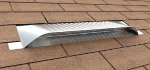 Static Off Ridge Roof Vents - UV-30 Aluminum Low Profile Universal Vent (Dormer Vent) on Shingle Roof