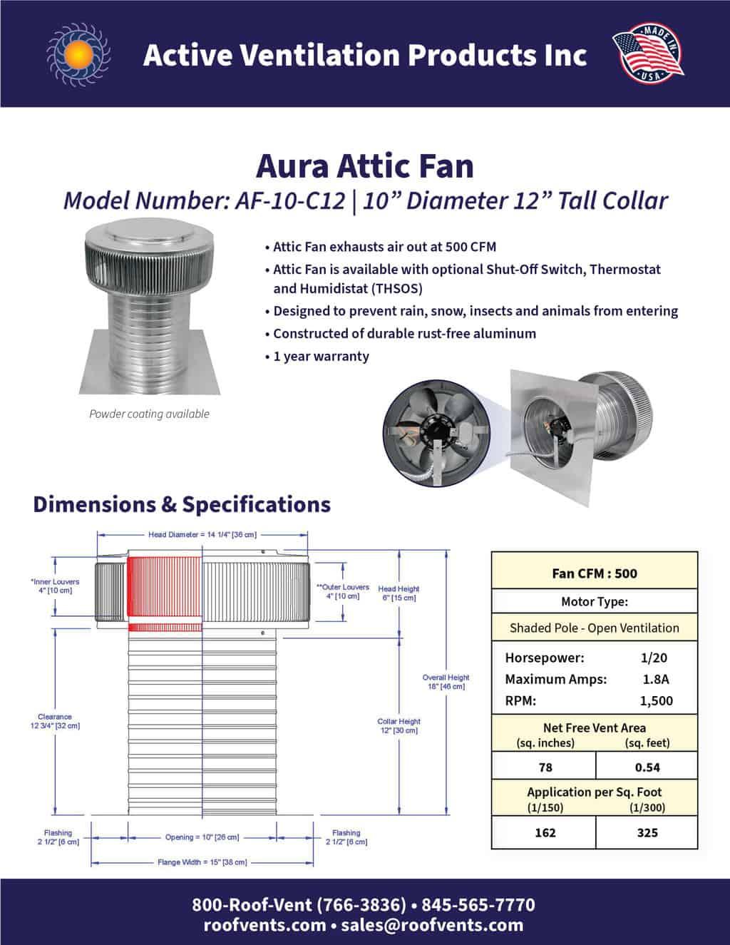 AF-10-C12-brochure An Exhaust Attic Fan