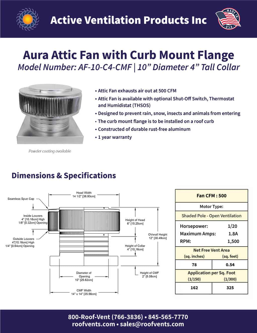 AF-10-C4-CMF-brochure An Exhaust Attic Fan