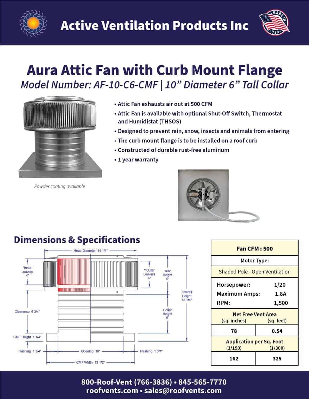 AF-10-C6-CMF-brochure An Exhaust Attic Fan