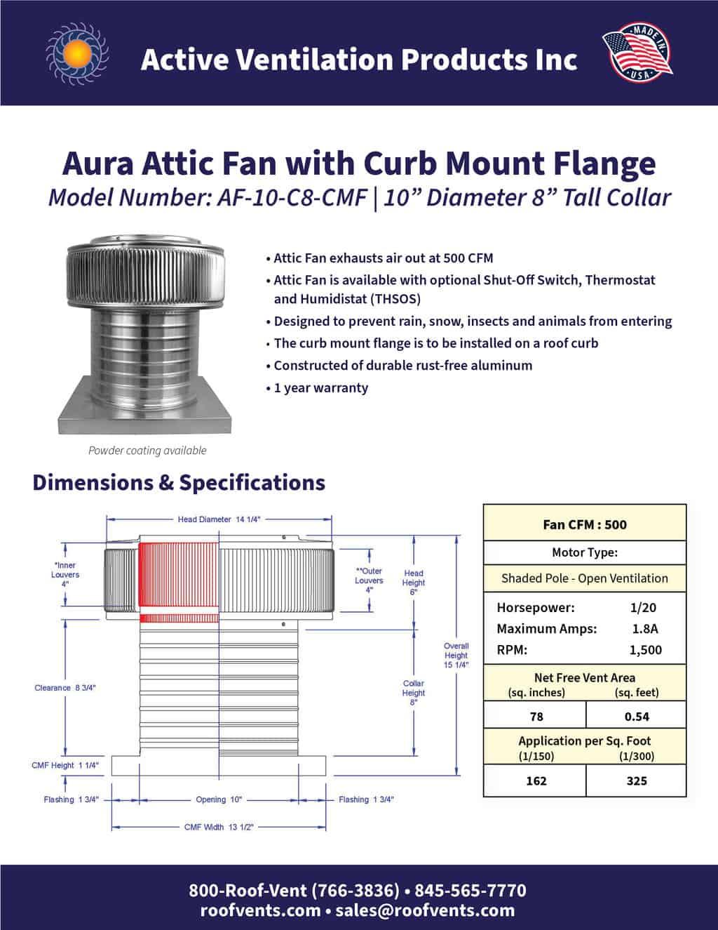 AF-10-C8-CMF-brochure An Exhaust Attic Fan