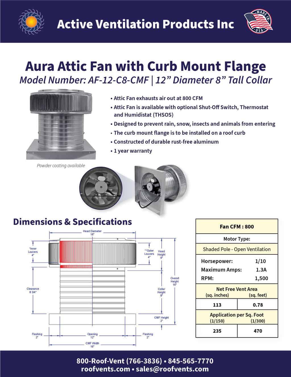 AF-12-C8-CMF-brochure An Exhaust Attic Fan
