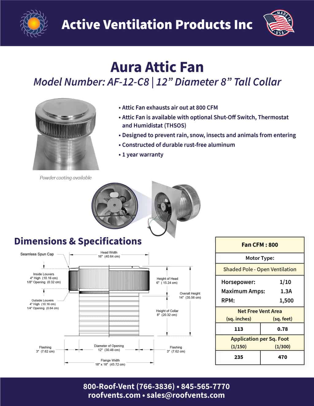 AF-12-C8-brochure An Exhaust Attic Fan