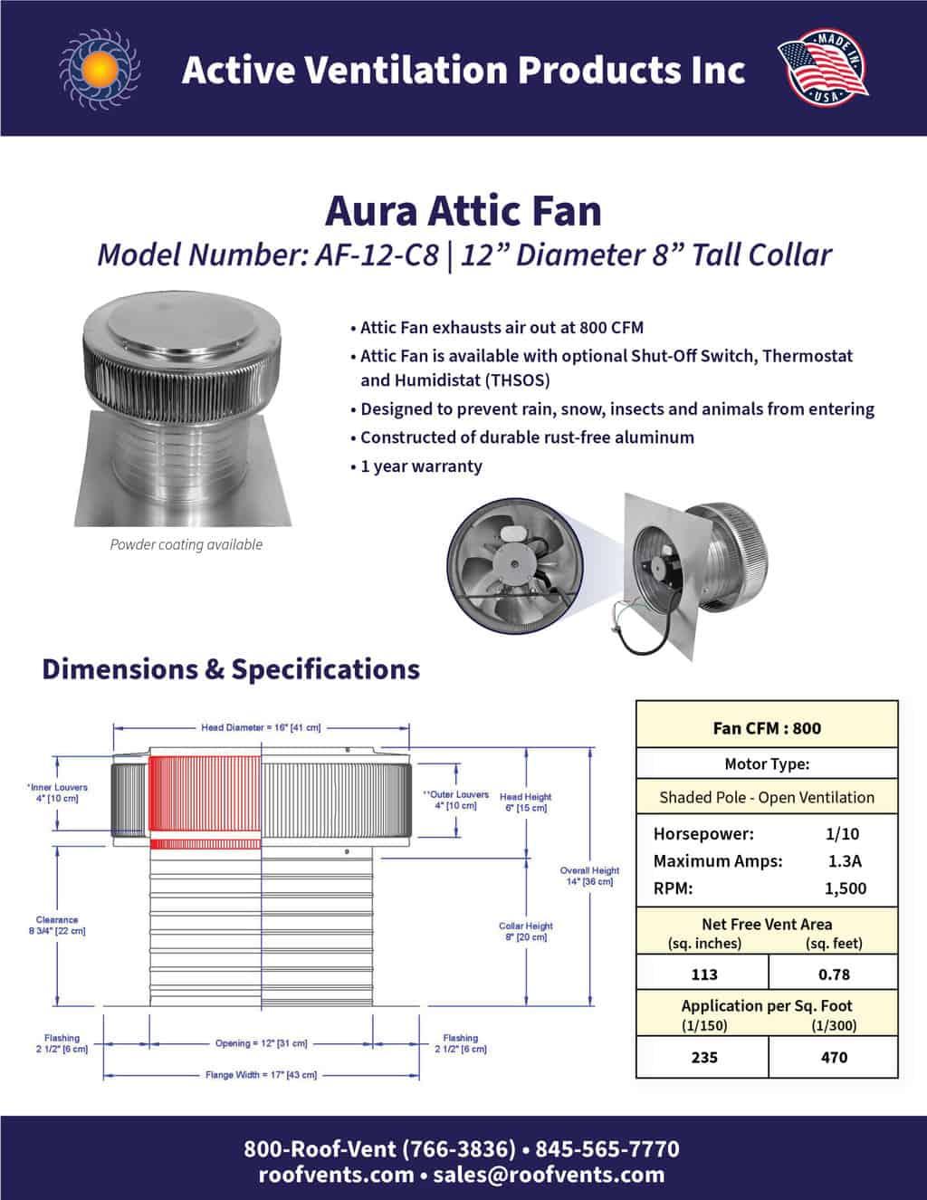 AF-12-C8-brochure An Exhaust Attic Fan