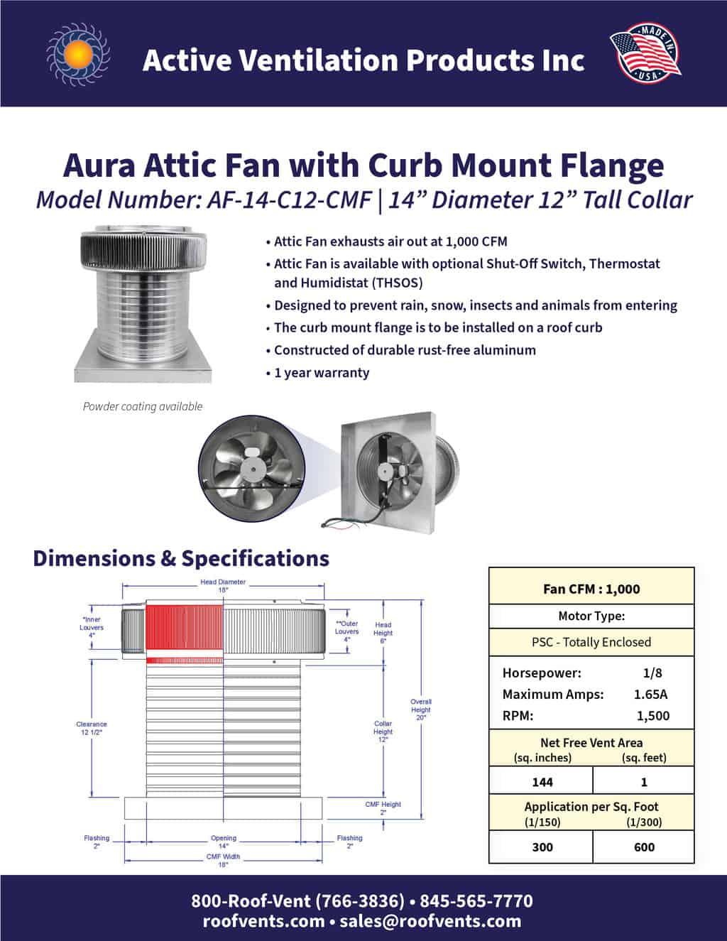AF-14-C12-CMF-brochure An Exhaust Attic Fan
