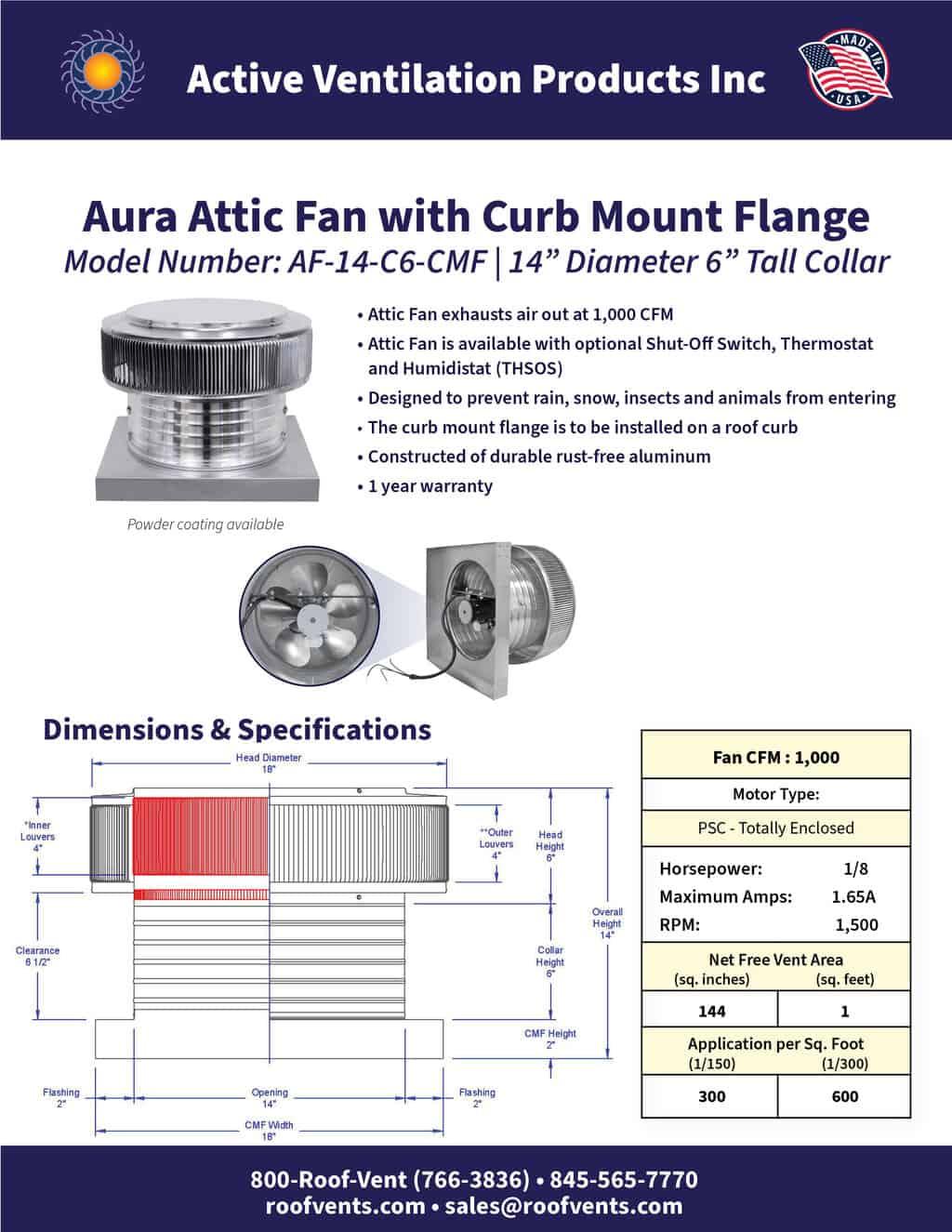 AF-14-C6-CMF-brochure An Exhaust Attic Fan