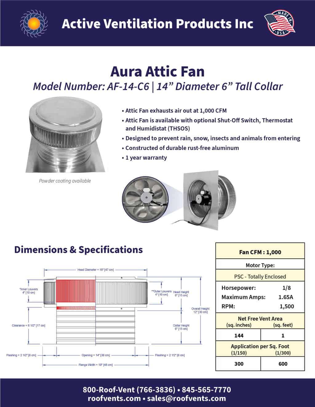 AF-14-C6-brochure An Exhaust Attic Fan