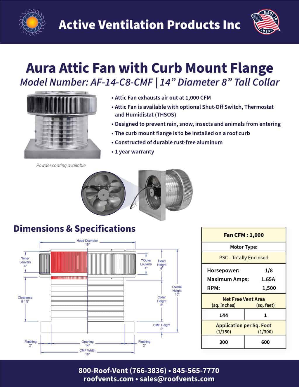 AF-14-C8-CMF-brochure An Exhaust Attic Fan