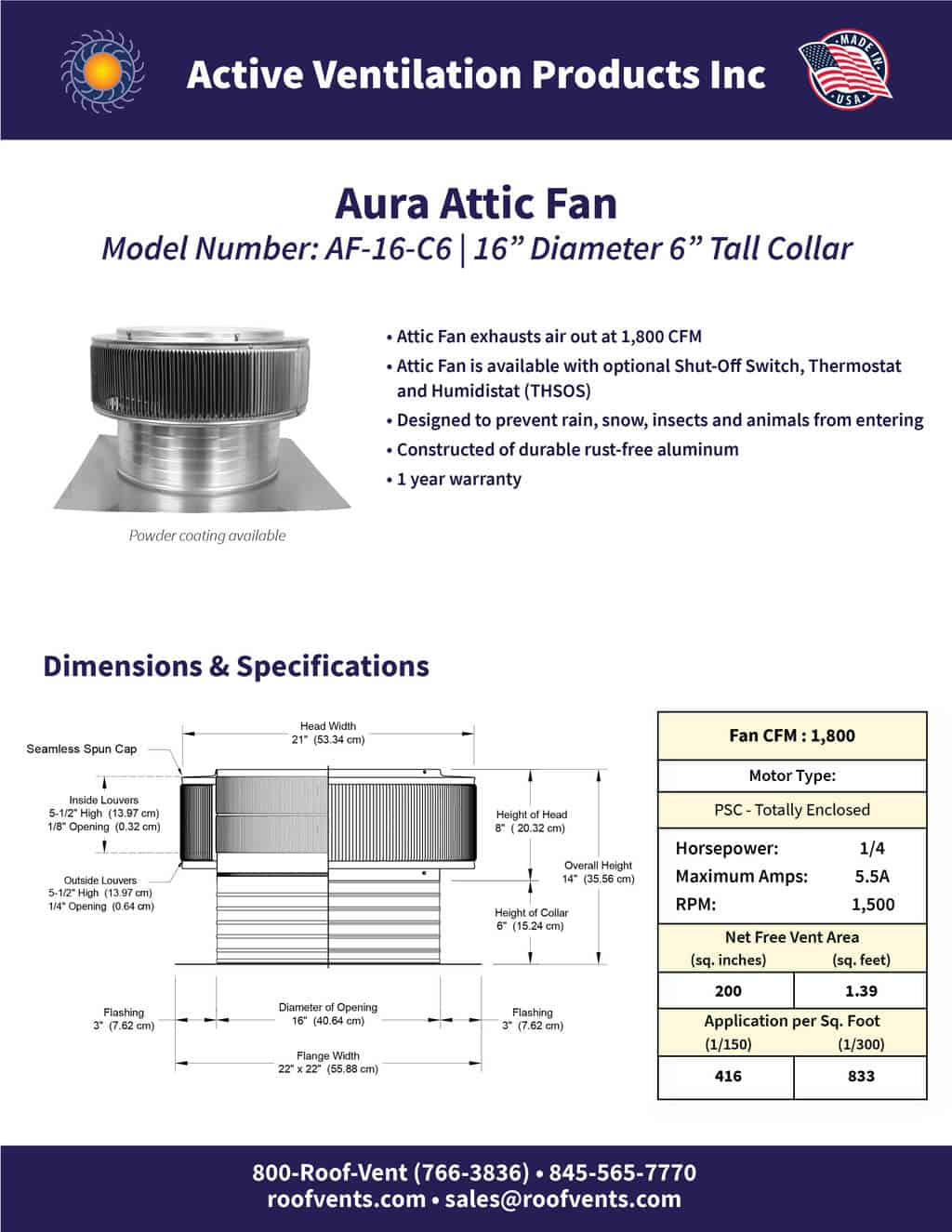 AF-16-C6-brochure An Exhaust Attic Fan
