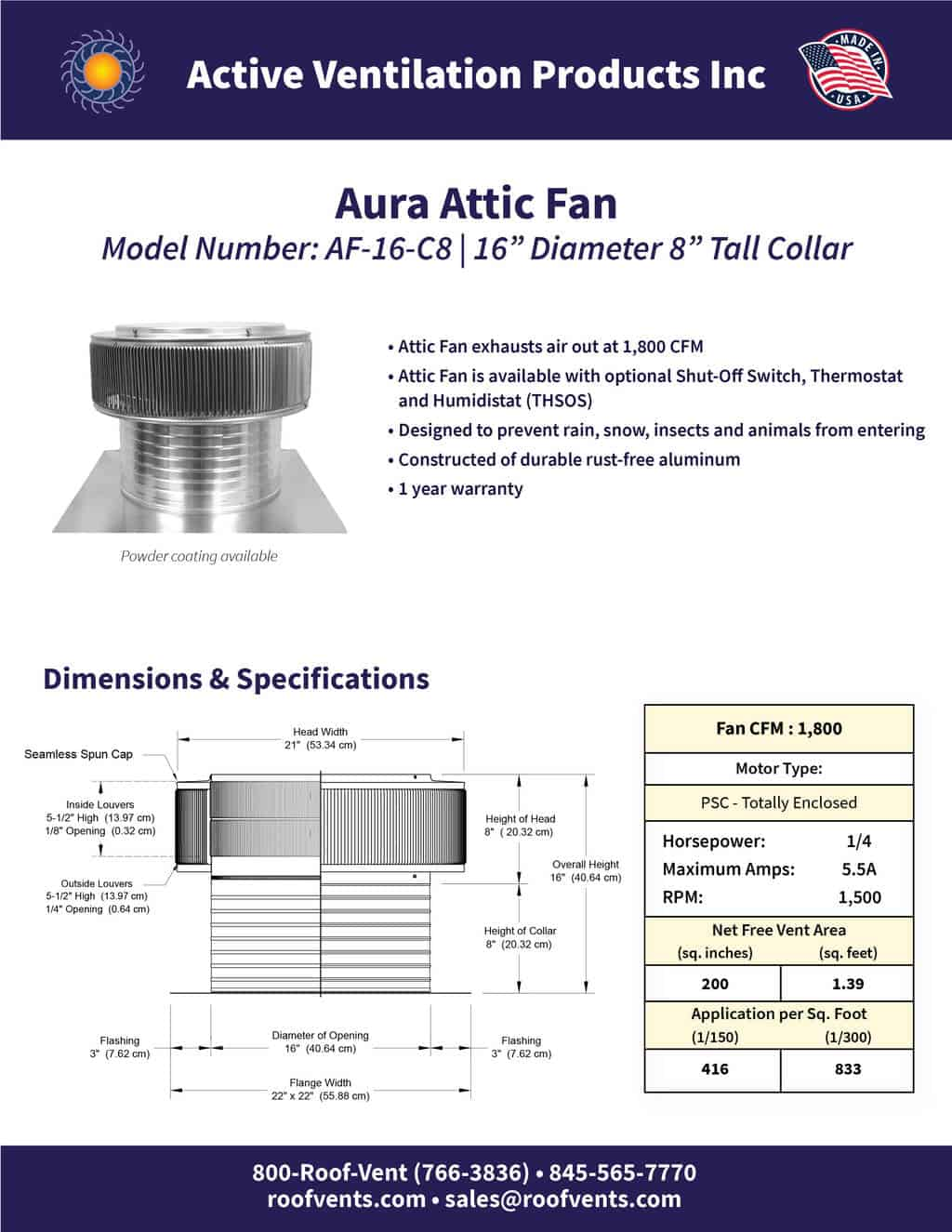 AF-16-C8-brochure An Exhaust Attic Fan
