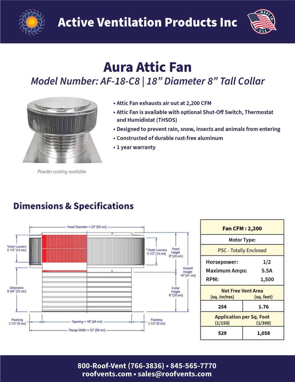 AF-18-C8-brochure An Exhaust Attic Fan