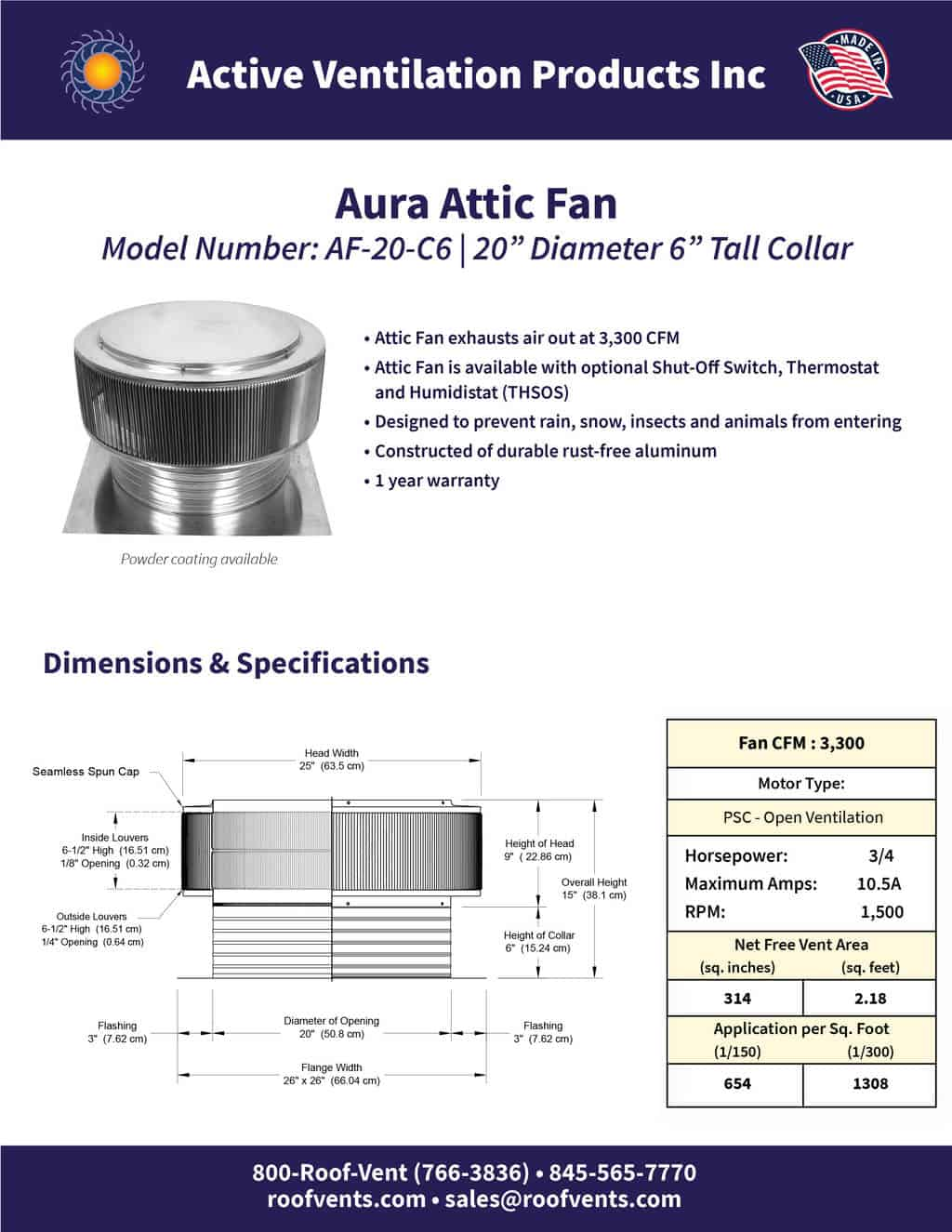 AF-20-C6-brochure An Exhaust Attic Fan