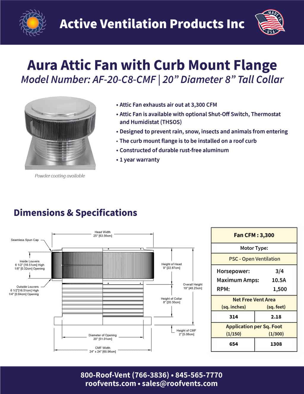 AF-20-C8-CMF-brochure An Exhaust Attic Fan