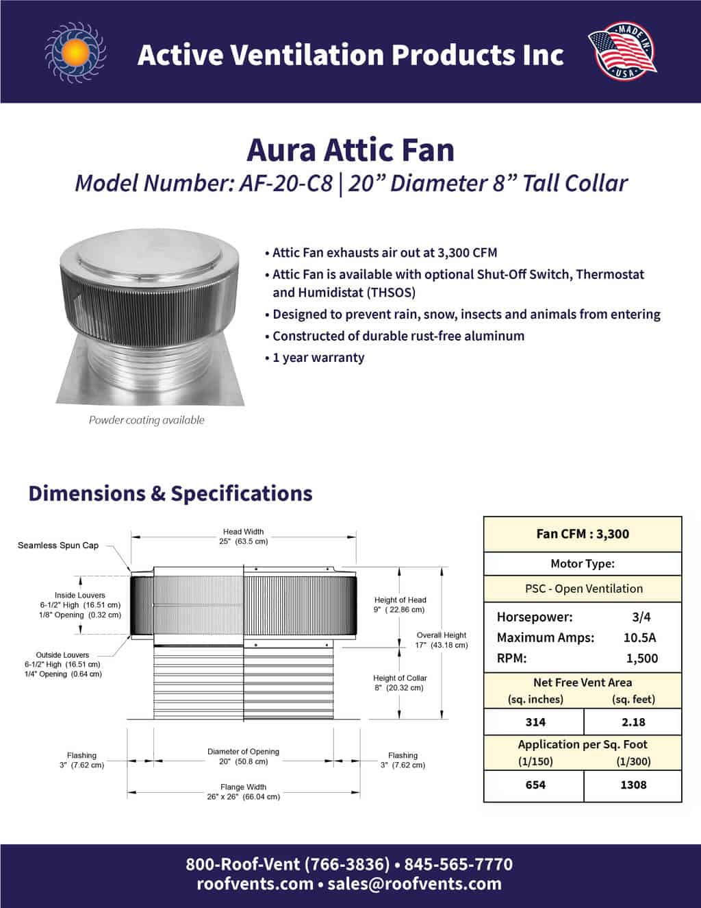 AF-20-C8-brochure An Exhaust Attic Fan