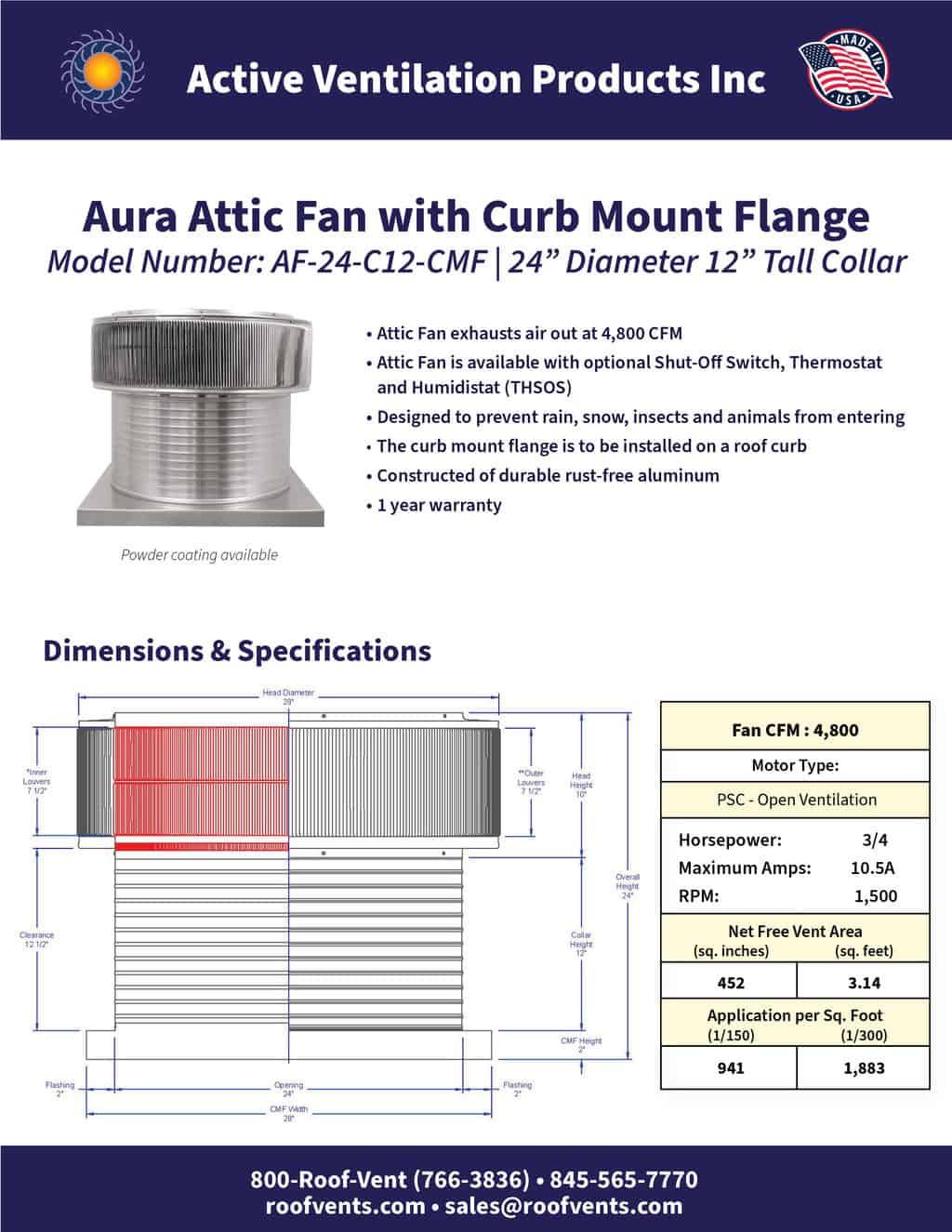 AF-24-C12-CMF-brochure An Exhaust Attic Fan