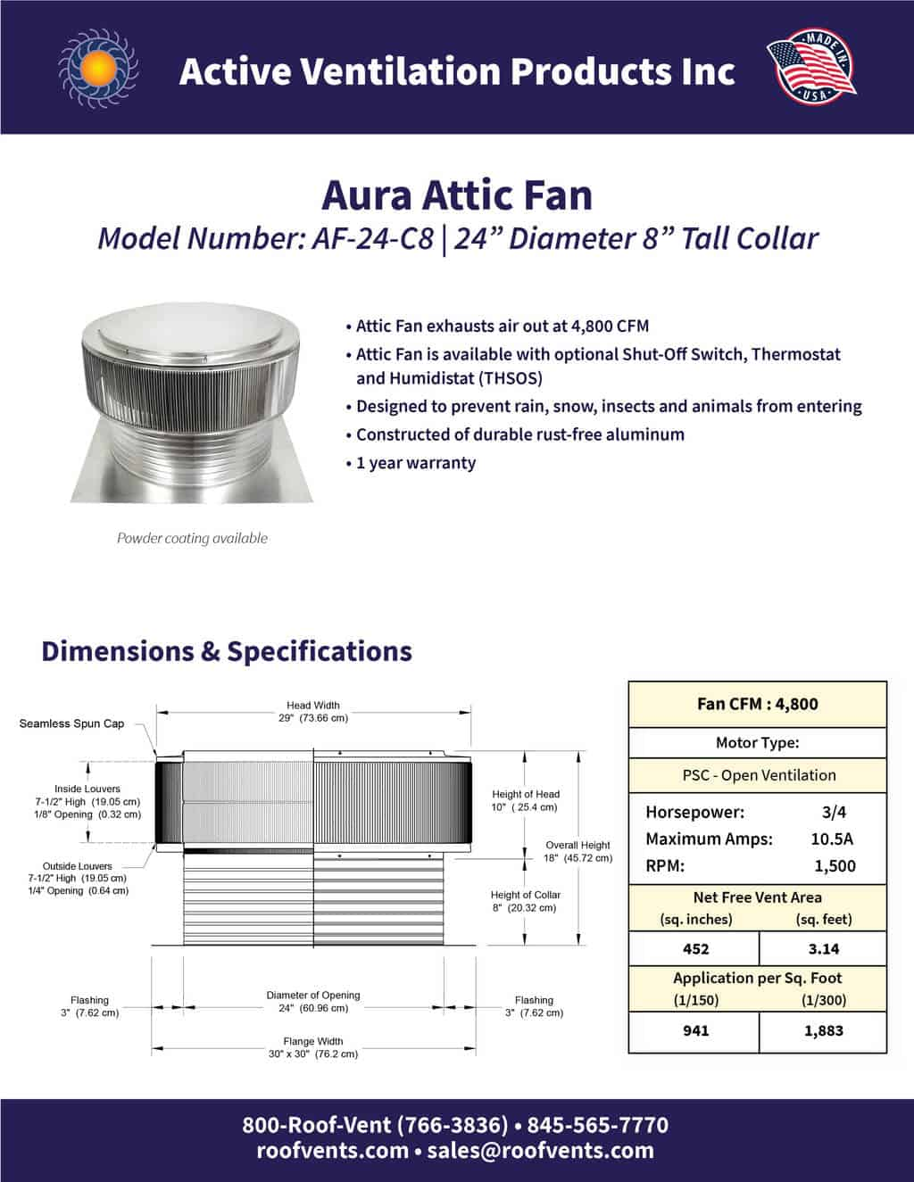 AF-24-C8-brochure An Exhaust Attic Fan
