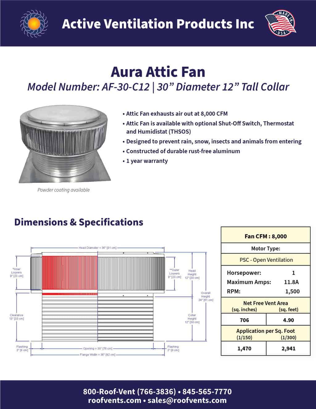 AF-30-C12-brochure An Exhaust Attic Fan
