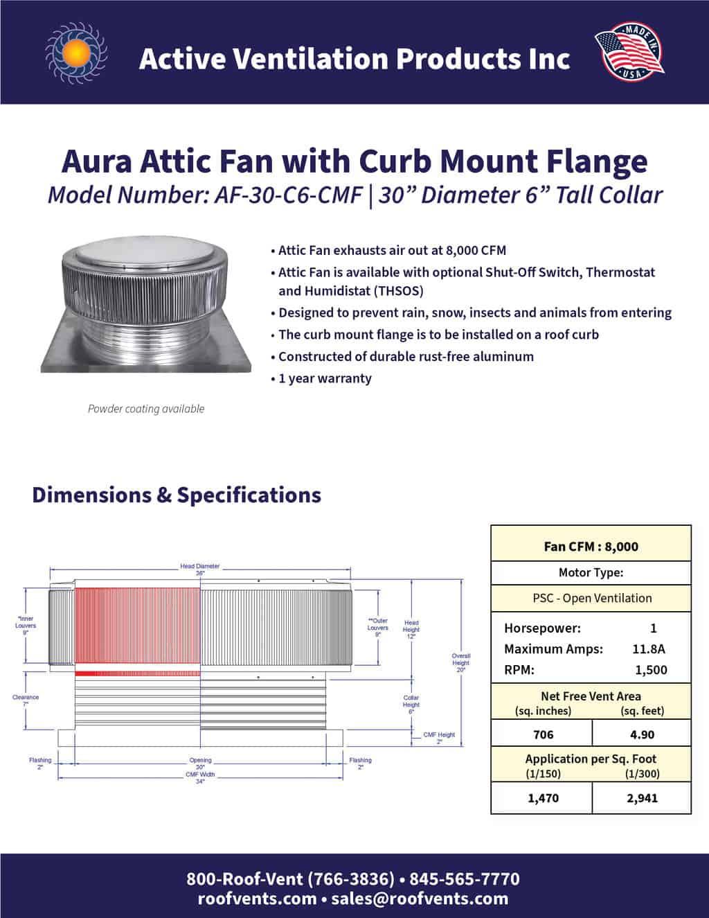 AF-30-C6-CMF-brochure An Exhaust Attic Fan